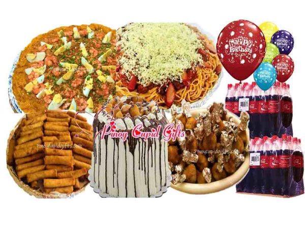Conti's Pancit Palabok, Conti's Spaghetti, 50 Shanghai Rolls, 48 ChickenLollies, Conti's Mango Bravo-Regular, 24x300ml Coke, 6 Assorted Birthday Balloons