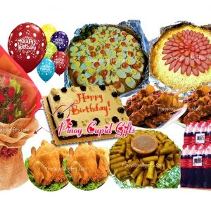 Amber: Spaghetti with Meat Sauce, Pancit Malabon, 2 Buttered Fried Chicken, 20pcs Pork BBQ, 50pcs Lumpia Shanghai, Red Ribbon Dedication Cake, 24x300ml Coke, 6 Assorted Birthday Balloons 1Dozen Red Roses