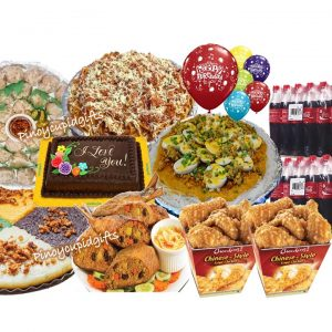 Susies Cuisine: Spaghetti, Palabok Bilao, 4pcs Relyenong Bangus, Soimai-24pcs, Premium Kakanin, Chowking Chinese-Style Fried Chicken, GD Dedication Cake, 24x300ml Coke, 6 Assorted Birthday Balloons