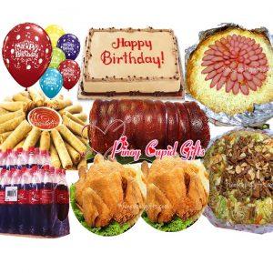 Boneless Lechon Belly-Barkada, Pancit Canton Guisado, Spaghetti w/Meat Sauce, 30pcs Lumpiang Shanghai, 2 Buttered Fried Chicken, Red Ribbon Dedication Cake, 24x300ml Coke, 6 Assorted Birthday Balloons