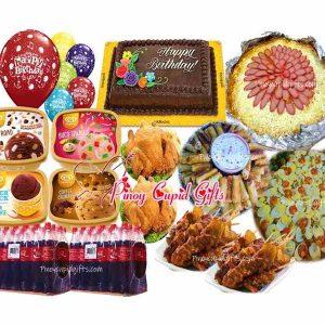 Amber Pancit Malabon, Spaghetti, 40pcs Lumpiang Shanghai, 2 Buttered Fried Chicken, 20pcs Pork BBQ-20 pcs, Goldilocks Dedication Cake, 4 x 1.5l Selecta Ice Cream, 24x300ml coke, 12 Assorted Birthday Balloons
