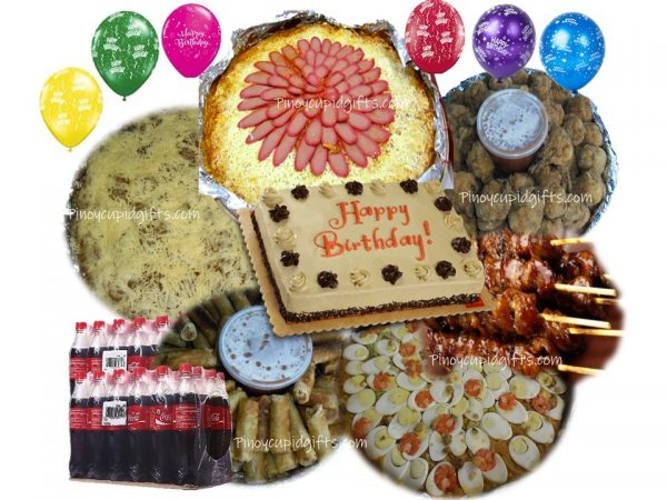 Amber Pancit Malabon, Spaghetti w/Meat Sauce, 30 sticks Pork BBQ, 40 pcs Lumpiang Shanghai, 30 Lolipops, 80 pcs Pichi Pichi with Cheese, Red Ribbon Dedication Cake, 24x300ml Coke, 6 Assorted Birthday Balloons