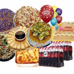 Susies Cuisine: Pancit Palabok, Pancit Guisado, Baked Lasagna, Spaghetti, 20pcs Lumpia Ubod, Kalame Ube Bilao, Goldilocks Dedication Cake, 24x300ml Coke, 6 Assorted Birthday Balloons