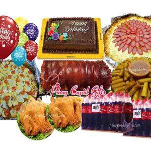 Boneless Lechon Belly-Barkada, Pancit Malabon-Large, Spaghetti-Large, 2 Buttered Fried Chicken, 40pcs Lumpia Shanghai, Goldilocks Dedication Cake 24x300ml Coke 6 Assorted Birthday Balloons