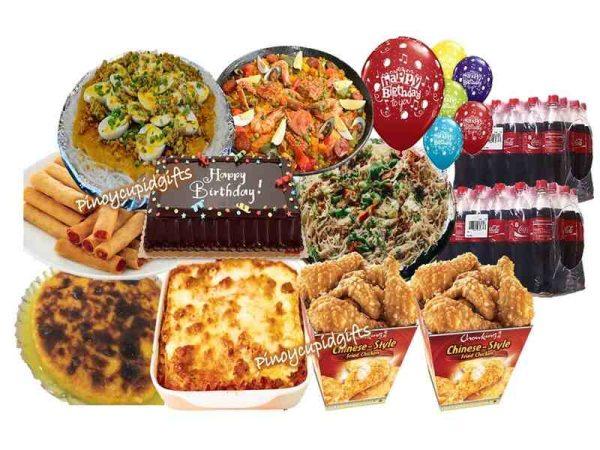 Susies Cuisine: Pancit Palabok, Bihon Canton, Paella Rice, Baked Macaroni, Cassava Cake, 48pcs Chowking Shanghai, 2 Buckets Chinese-Style Chowking Chicken, Red Ribbon Dedication Cake, 24x300ml Coke, 6 Assorted Birthday Balloons