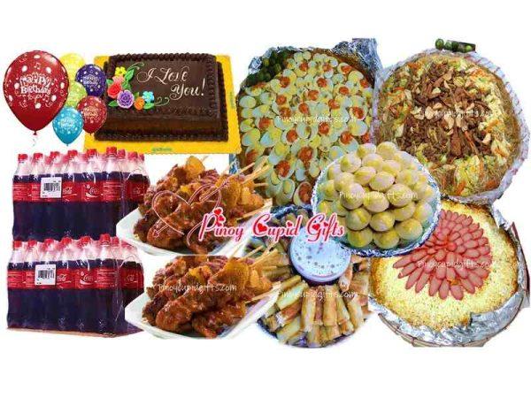 Amber Pancit Malabon, Canton Bihon, Spaghetti, 30 sticks Pork BBQ, 30pcs Lumpia Shanghai, 45pcs Puto Cheese, Goldilocks Dedication Cake, 24x300 Coke, 6 Assorted Birthday Balloons