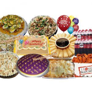 Susies Cuisine: Pancit Sotangon with Miki, Pancit Palabok, Pancit Guisado, Baked Spaghetti, 20pcs Lumpiang Ubod, Sapin Sapin, Bon Chon Chicken Wings, 50pcs Moche, Goldilocks Dedication Cake, 24x300ml Coke, 6 Assorted Birthday Balloons