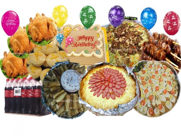 Amber Pancit Malabon, Pancit Canton Bihon, Spaghetti w/Meat Sauce, 60pcs Lumpiang Shanghai, 3 Buttered Fried Chicken, 30pcs Pork Barbecue, 45pcs Puto Cheese, Goldilocks Dedication Cake, 48x300ml Coke, 6 Assorted Birthday Balloons