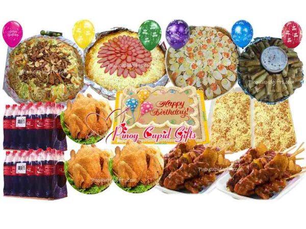 Amber: Pancit Sotanghon Canton Guisado-Large, Spaghetti with Meat Sauce-Large, Pancit Malabon-Large, 3 Buttered Fried Chicken-chopped, 50 sticks Pork BBQ, 60pcs Lumpia Shanghai, 80pcs Pichi Pichi with Cheese, Goldilocks Dedication Cake, 48x300ml Coke, 6 Assorted Birthday Balloons