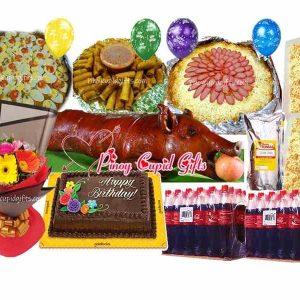 Small Lechon (8-10kg cooked) Mixed Gerberas Bouquet, Pancit Malabon-Medium Amber Spaghetti w/Meat Sauce, 40 pcs Lumpiang Shanghai, 80 pcs Pichi-Pichi with cheese, Goldilocks Dedication Cake, 24x300ml Coke, 6 Assorted Birthday Balloons