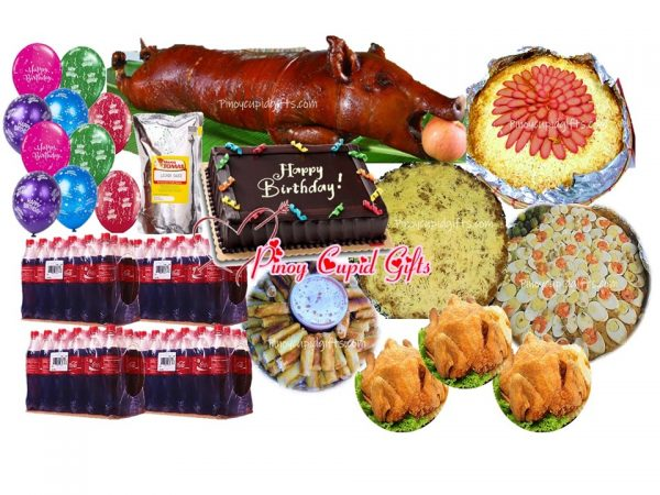 Lechon Small (10-11kg cooked), Spaghetti w/Meat Sauce-Large, Pancit Malabon-Large, 60 Lumpiang Shanghai, 3 Buttered Fried Chicken, 100pcs Pichi-Pichi with cheese, Red Ribbon Dedication Cake, 48x300ml Coke, 10 Assorted Birthday Balloons