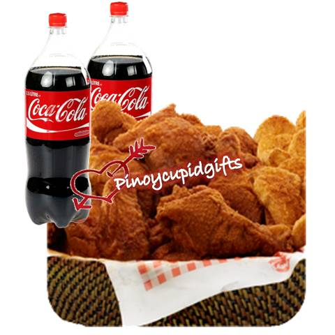 20pcs Fried Chicken with family sized basket of Mojos plus 2 x 1.5L of Coke.