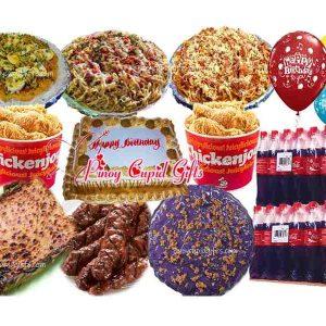 "Susies Cuisine:Pancit Palabok, Carbonara, Spaghetti, 20pcs Pork BBQ, Cassava Cake Bilao, Kalamay Ube Bilao, 2 Buckets ChickenJoy, Goldilocks Dedication Cake, 24x300ml Coke, 6 Assorted ""Happy Birthday"" Balloons"