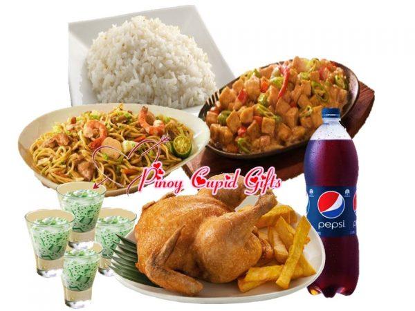 1 Regular Whole Fried Chicken Max Sizzling Chicken, Sisig, 1 Regular Max Pancit Canton, 4 Plain Rice, 4 Buko Pandan, 1.5l Pepsi