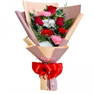 3 Red Roses with Carnations in a Bouquet