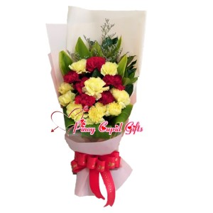 Mixed Red White Carnations Bouquet