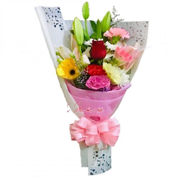 Mixed Flowers, Stargazer & 1 Red Rose