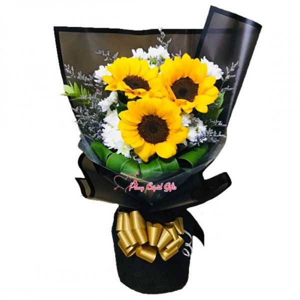 3 Sunflowers in a Bouquet