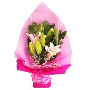 5 Stargazer Lilies Bouquet