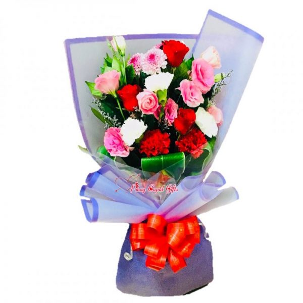 Mixed Flowers and 3 Red Roses
