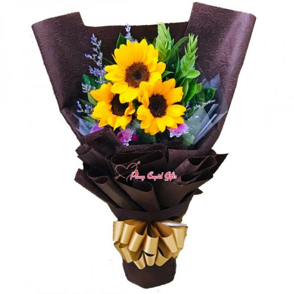 3 Sunflowers in a Hand Bouquet