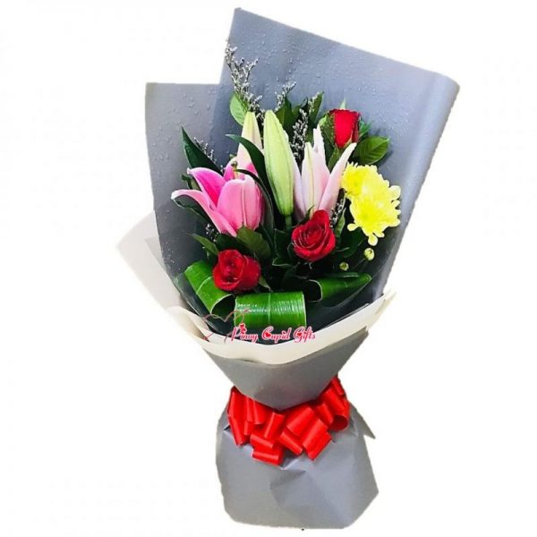 Stargazers with 3 Red Roses