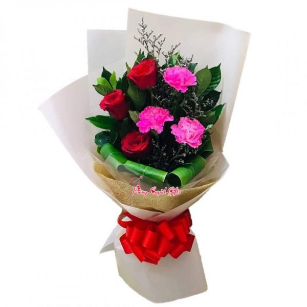 3 Red Roses with Carnations Bouquet