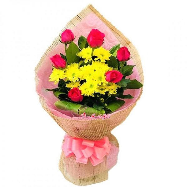 6 pcs Pink Roses with Yellow Fillers in Bouquet