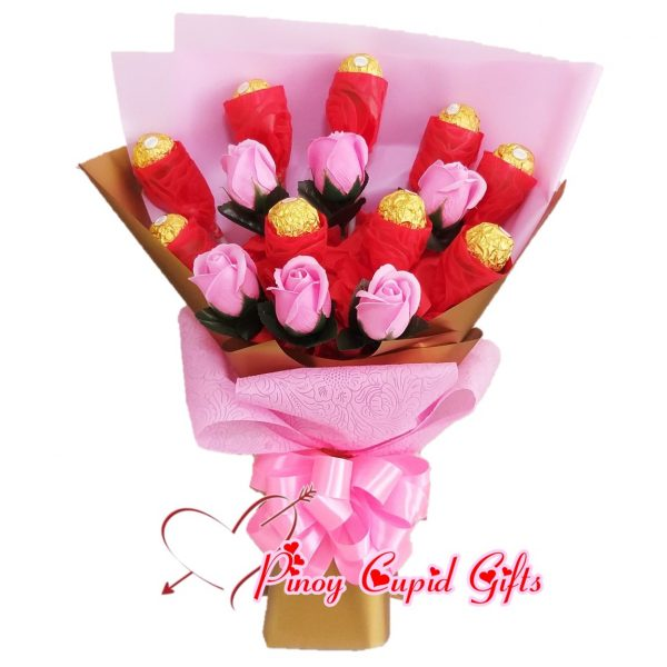 Ferrero Chocolate & Imported Roses in a bouquet