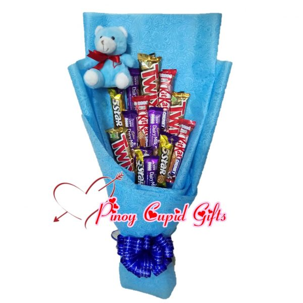 Assorted Chocolate Bouquet with bear