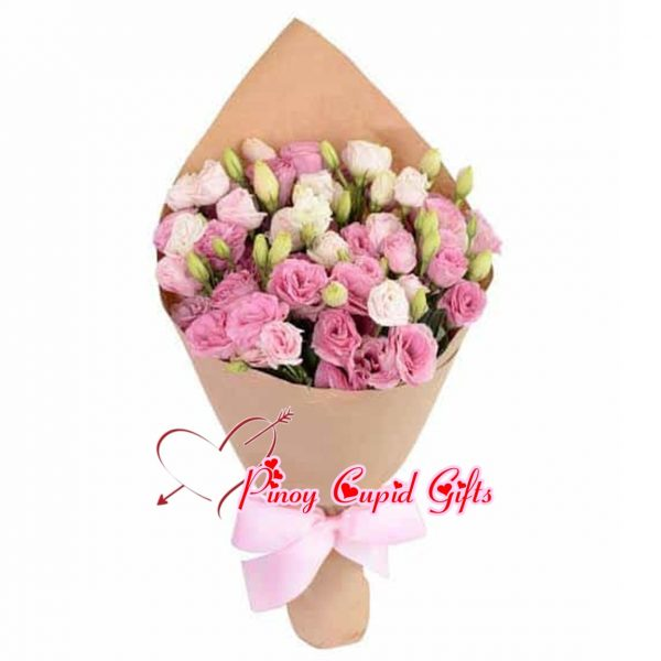 Pink Eustoma-Bouquet with brown wrapper