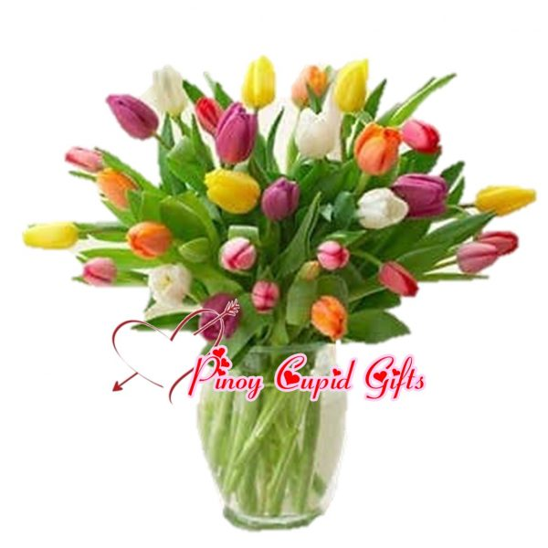 20 Mixed Color Tulips in a Vase