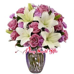 Imported Purple Roses with Lilies