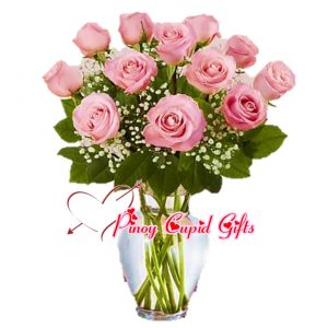10 Pink Imported Roses in a Vase