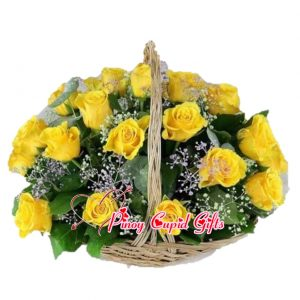 Imported Yellow Roses in a Basket