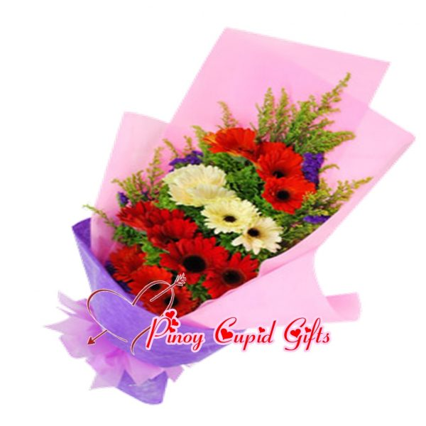 Mixed Red/White Gerberas Bouquet
