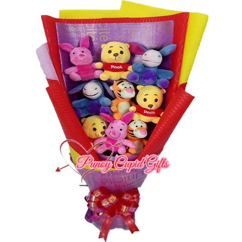 8pcs Assorted Colors Mini Stuffed Toys Bouquet