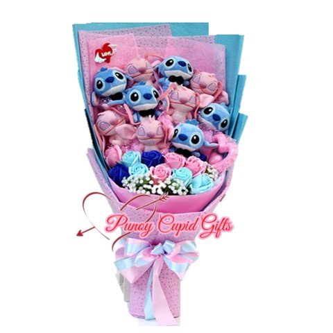 5pink, 5blue stuffed toy with pink/blue soap roses