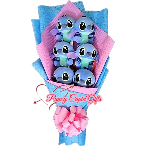 6 pcs Blue Stitch Stuffed Toy Bouquet