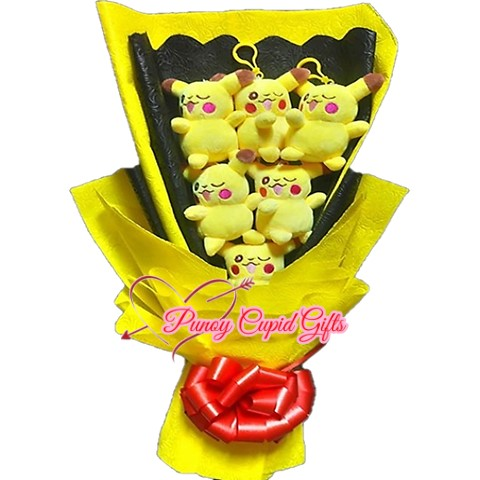 6pcs Yellow Cat Plush Stuffed Toys Bouquet with yellow wrapper