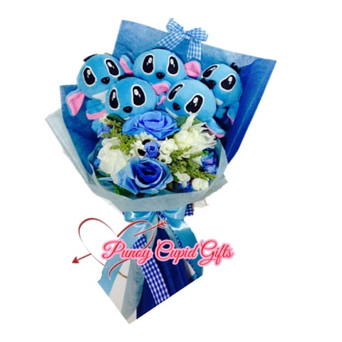 5pcs Stitch Stuffed Toy Bouquet with soap roses