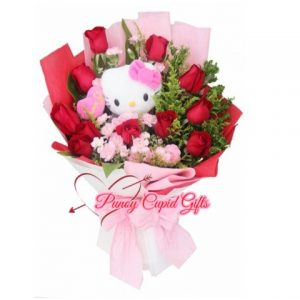 Stuffed Toy and Roses in Bouquet