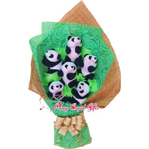 6 Mini Panda Stuffed Toy Bouquet