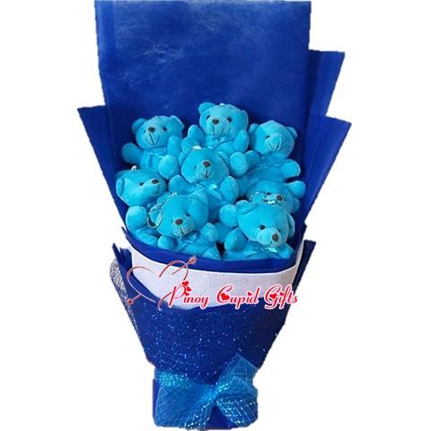 9 mini blue bears in a bouquet