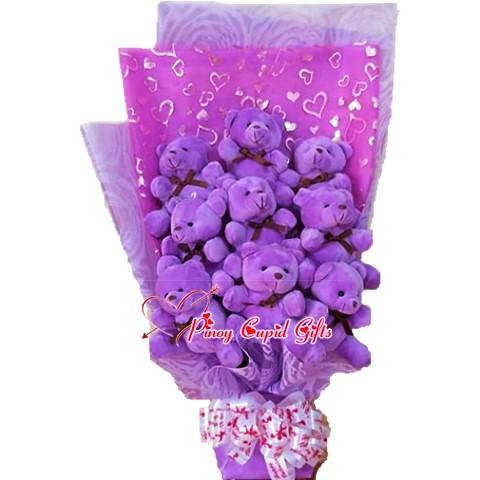 9 purple mini bears in bouquet