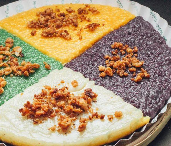 Kakanin Bilao with 4 Flavors: Sapin-Sapin, Duman, Bico, and Kalame