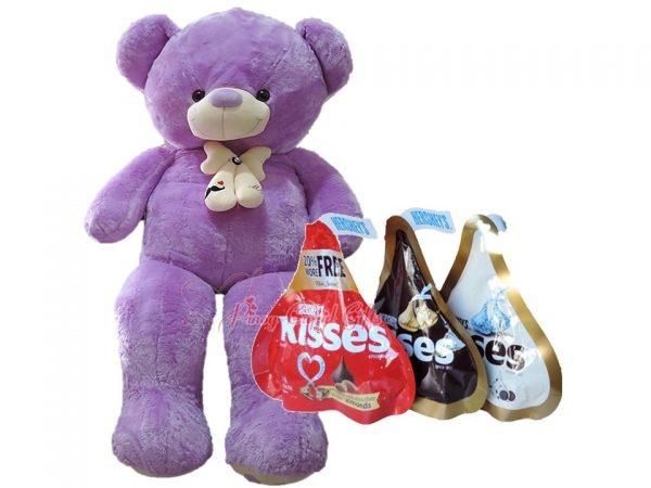 4FT Purple Teddy Bear, + 3 x 146g Hershey's Kisses Chocolate