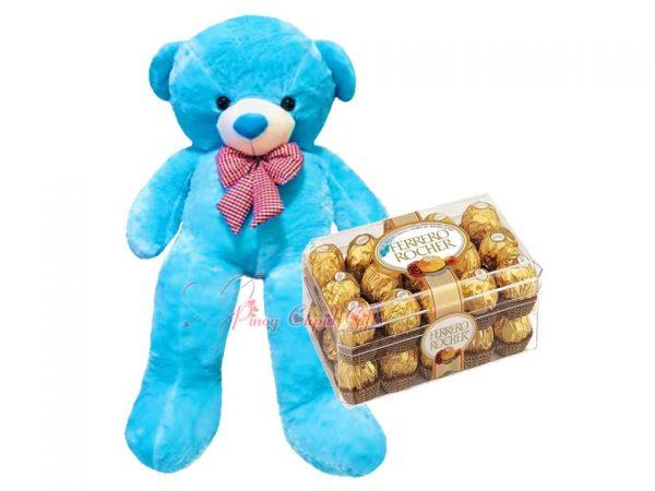 4FT Blue Teddy Bear & 30 pcs Ferrero Rocher Chocolate