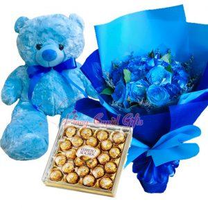1 Dozen Blue Roses Bouquet, 2 FT Blue Teddy Bear, 24 pcs Ferrero Chocolate