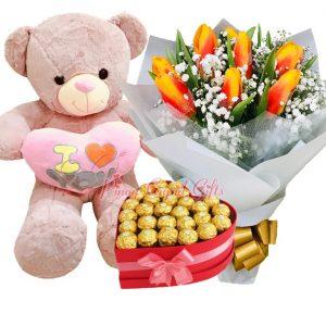 "10 pcs Orange Tulips, 3 FT ""I Love You"" Bear, 30 pcs Ferrero in a Heart Box"